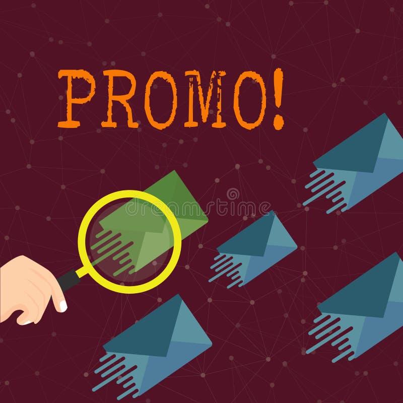 Promo do texto da escrita da palavra Conceito do negócio para a parte de anunciar a lupa da venda da oferta especial do desconto  ilustração do vetor