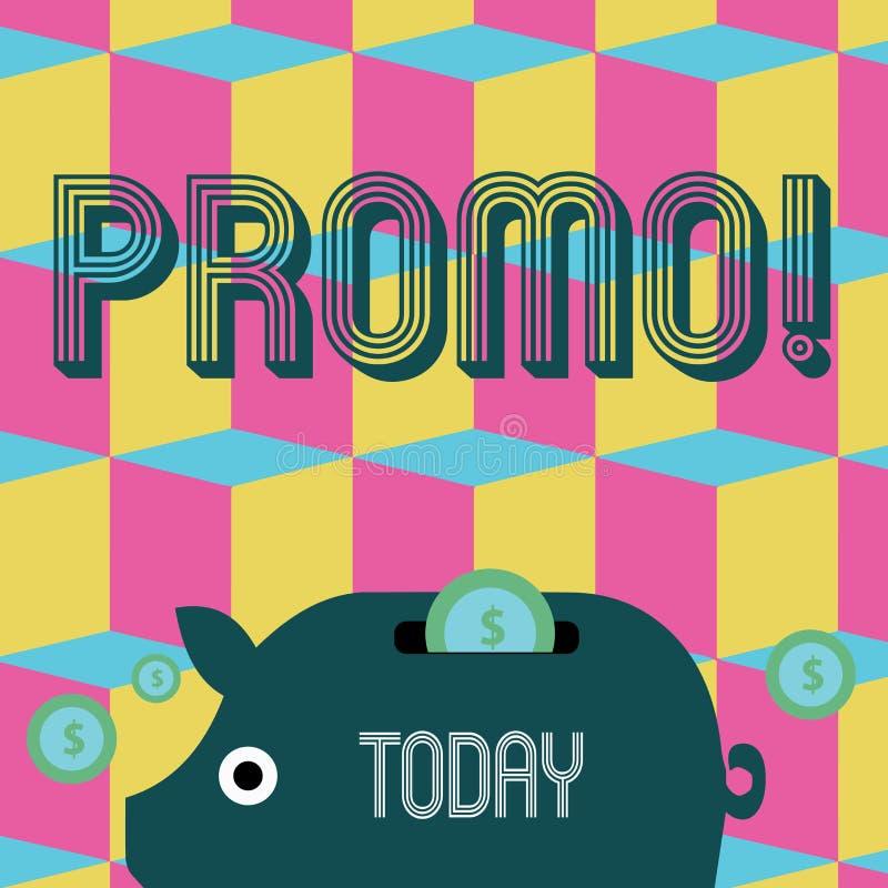 Promo do texto da escrita da palavra Conceito do negócio para a parte de anunciar o banco leitão colorido do dinheiro da venda da ilustração royalty free