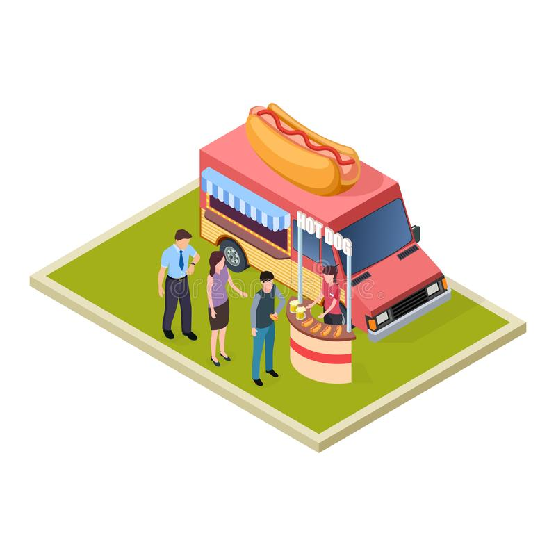 Promo hot dog, piwo fast food i degustacja ciężarowa isometric wektorowa ilustracja i royalty ilustracja