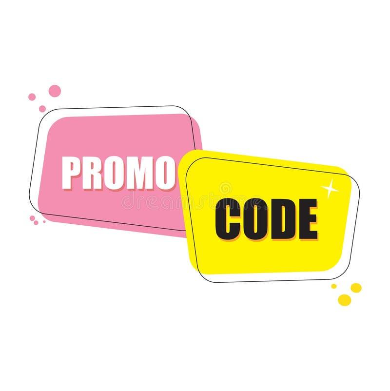 Promo kod, talonowy kod Płaskiego wektoru projekta ustalona ilustracja na białym tle ilustracji