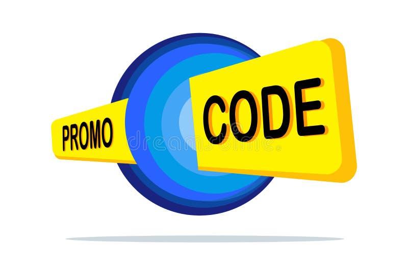 Promo kod, talonowy kod Płaskiego wektoru projekta ustalona ilustracja na białym tle ilustracja wektor