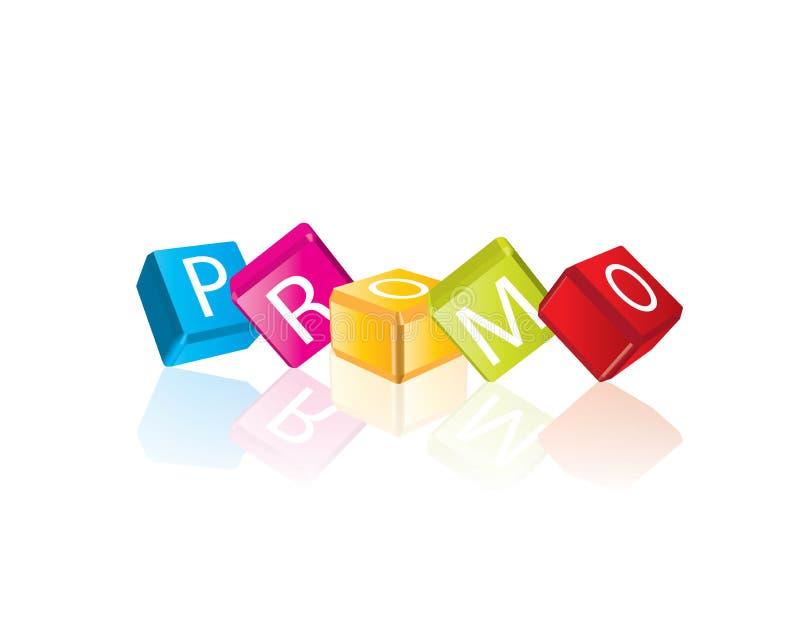 Promo - lettres de cube illustration stock