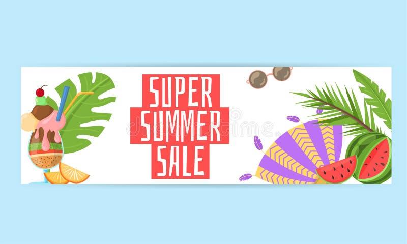 Promo-Netzfahne Sommer des Rabattes moderne lizenzfreie abbildung