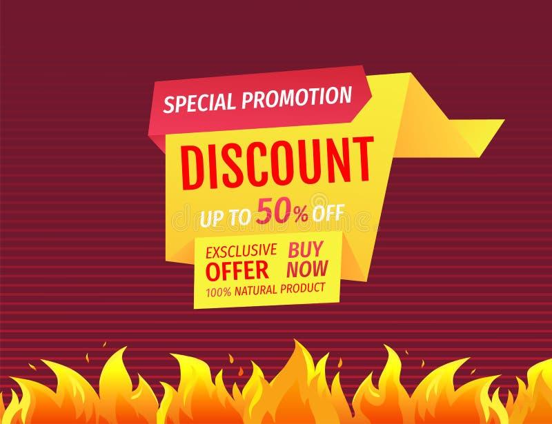 Promo plakat z palenie ogienia płomieniem, Gorąca oferty sprzedaż ilustracja wektor