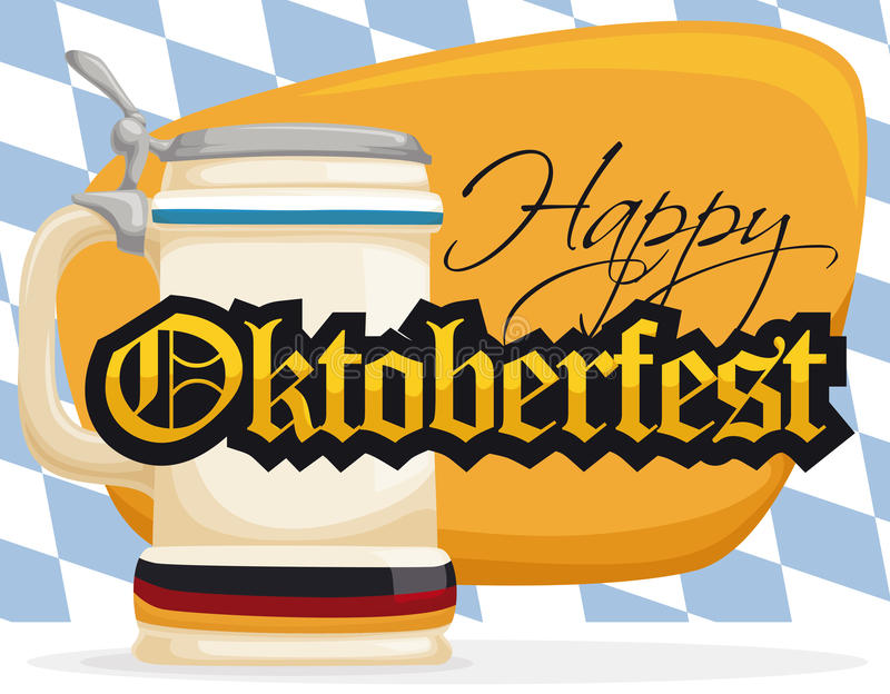 Promo Poster with Stein for Oktoberfest Celebration, Vector Illustration. Stein with Germany flag ready for Oktoberfest with greeting sign and lozenge background vector illustration