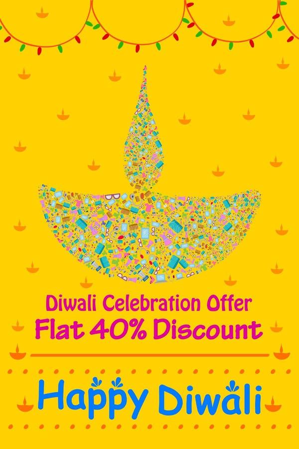 Promoción de venta feliz del descuento de Diwali stock de ilustración