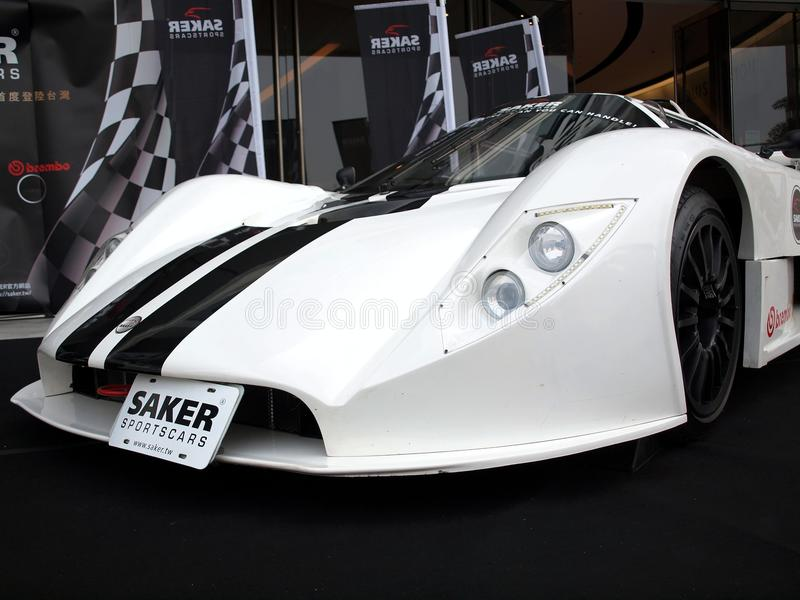 Promoción del coche de deportes de Saker RapX imagenes de archivo