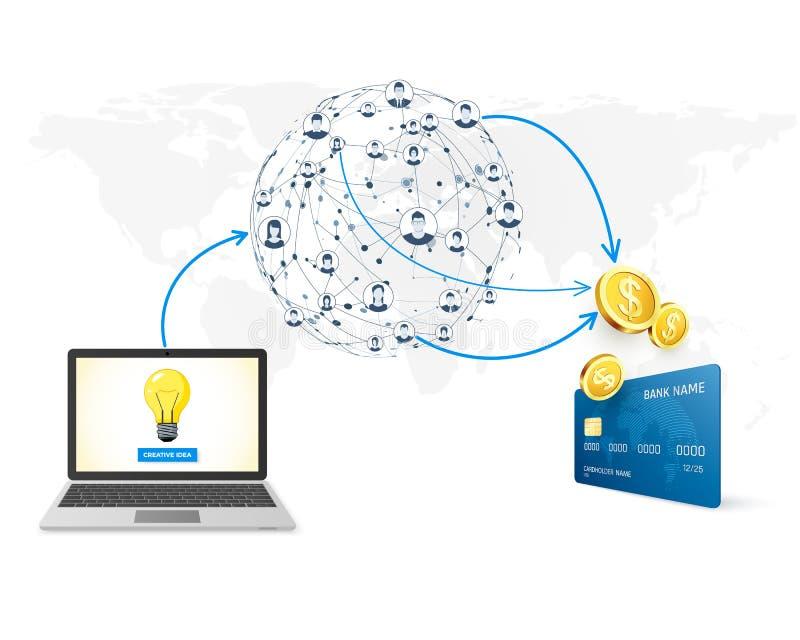 Promoción del concepto de Crowdfunding de la idea del negocio en el dinero de la red y de la colección para el proyecto de desarr ilustración del vector