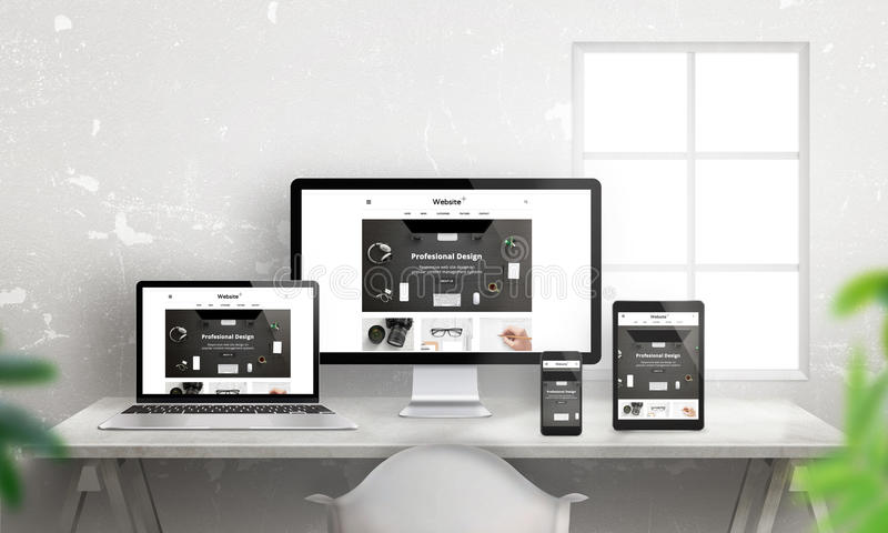 Promoción responsiva plana creativa del sitio web en diversos dispositivos ilustración del vector