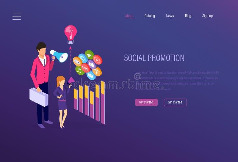 Promoción social, márketing social de los medios, analytics, publicidad apuntada digital libre illustration