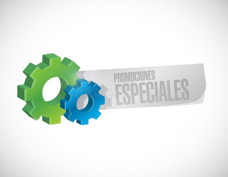 promociones especiales en concepto español de la muestra del engranaje stock de ilustración