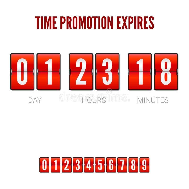 Promocje tracą ważność, analogowy trzepnięcie zegaru zegar Szablon trzepnięcie odliczanie zegar, zegarowy kontuar Czerwony odlicz ilustracja wektor