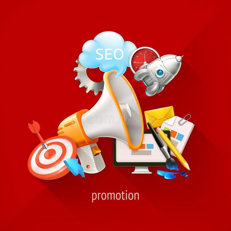 Promocyjne i marketingowe technologie royalty ilustracja