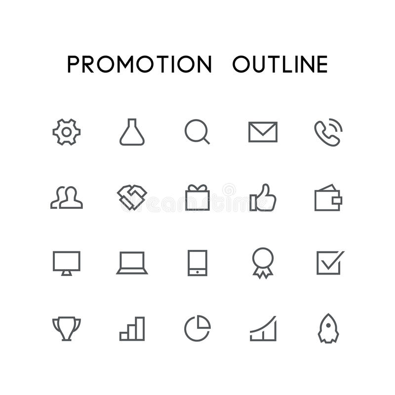 Promocyjny kontur ikony set ilustracji