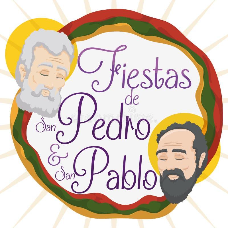Promocyjny projekt dla świętych Peter i Paul świętowania w hiszpańszczyznach, Wektorowa ilustracja ilustracja wektor