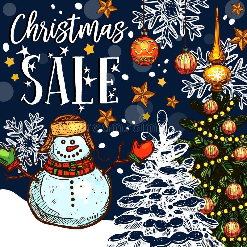 Promoen för vektor för julferieförsäljning skissar affischen royaltyfri illustrationer