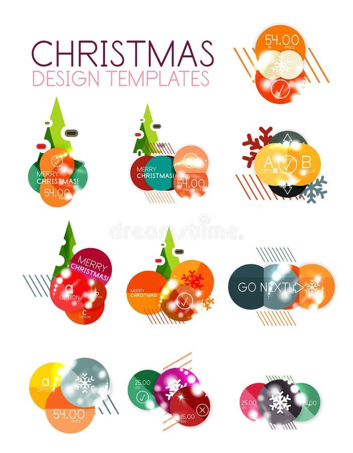 Promoetiketter och klistermärkear för jul eller för nytt år royaltyfri illustrationer