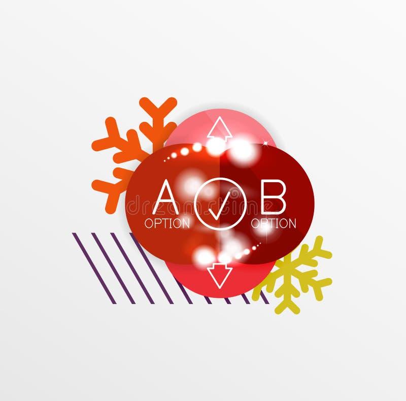 Promoetiketter och klistermärkear för jul eller för nytt år stock illustrationer