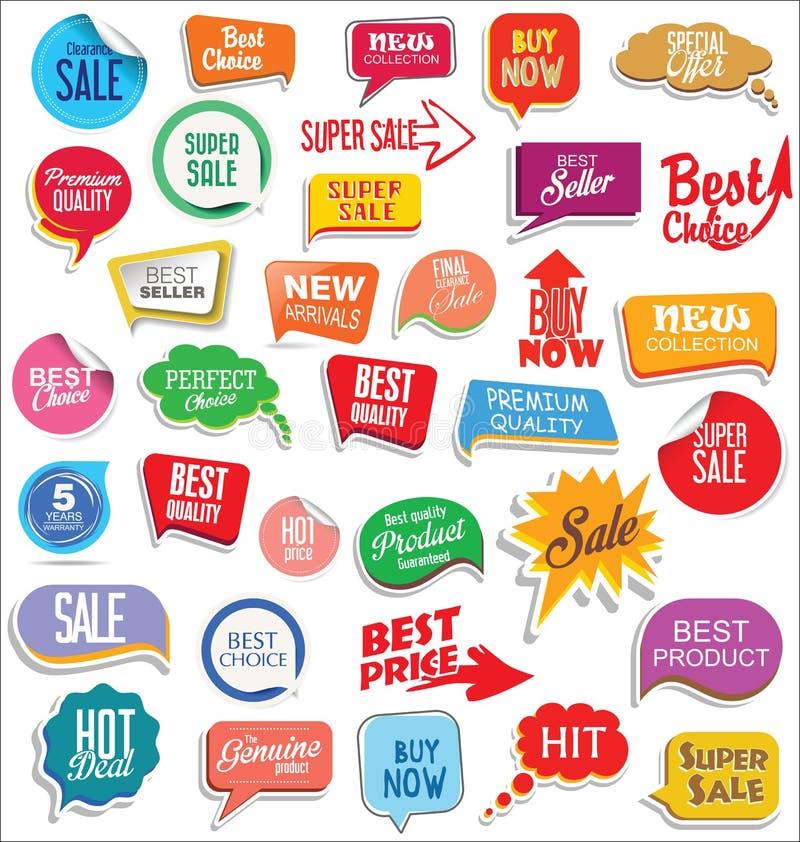 Promoförsäljningsklistermärkear och modern design för etikettssamling stock illustrationer