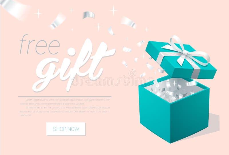 Promofahne mit offenen Geschenkbox-und Silber Konfettis Türkisschmuckkästchen Schablone für Kosmetikjuweliergeschäfte lizenzfreie abbildung