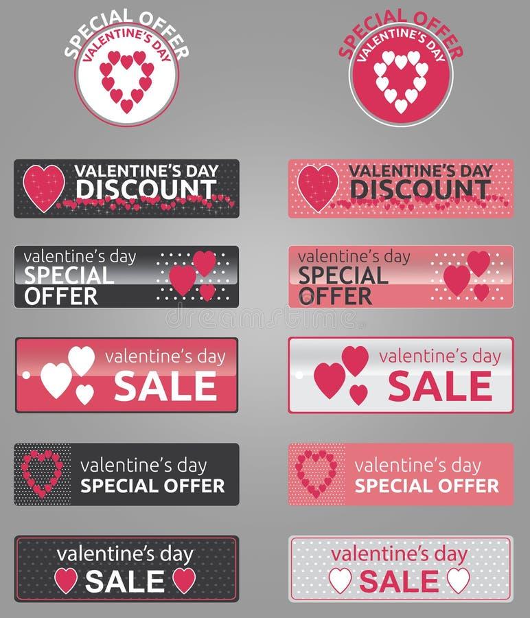 Promoknopen, kentekens en banners van de valentijnskaartendag stock afbeelding