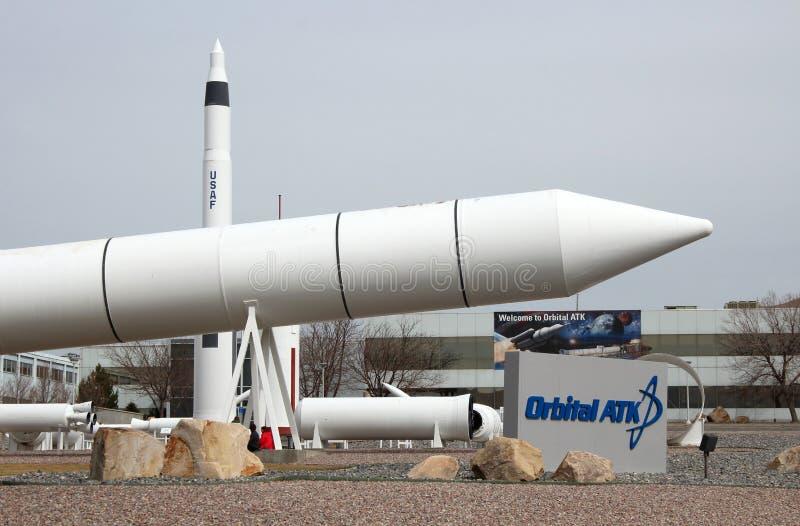 Promontório orbital Rocket Garden do ATK fotos de stock