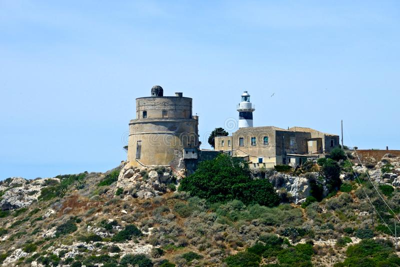 Promontory of Calamosca with lighthouse stock photos