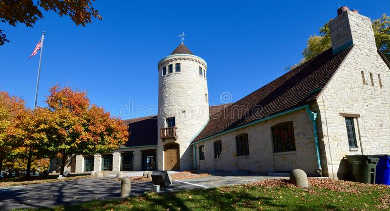Promontory Point. This is a picture of the field house at Promontory Point in Burnham Park, Chicago, Illinois. The peninsula was man-made in the 1920's and juts stock images