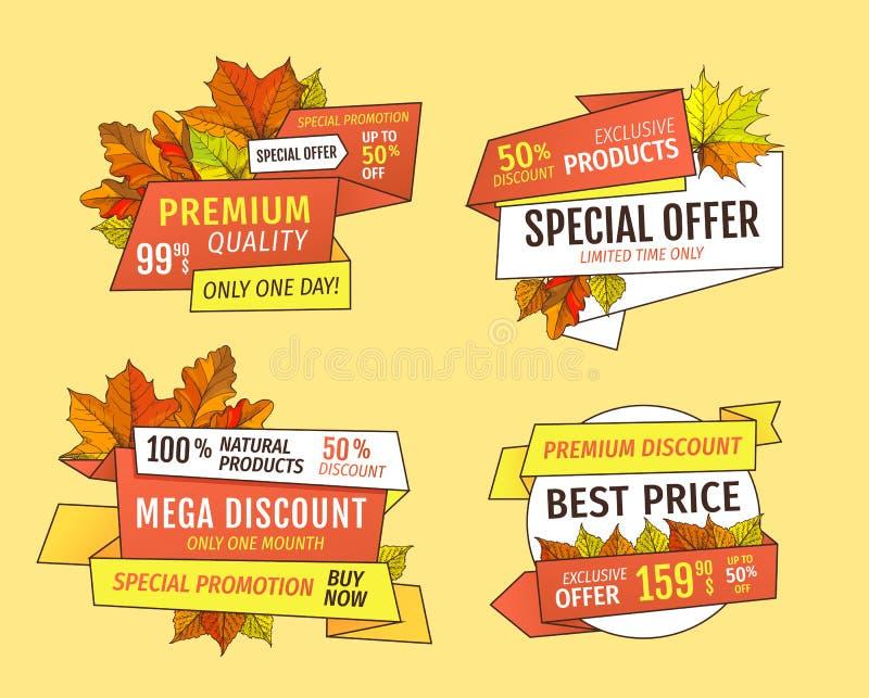 Promoprisannonsering Autumn Labels Tags Set vektor illustrationer