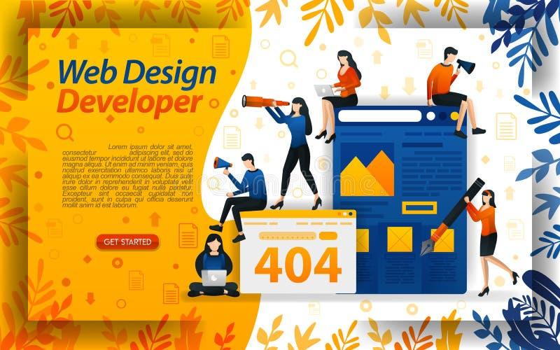 Promoteur de conception web ?tablissez un site Web Cr?ez le site Web am?liorez le r?seau et le codage, ilustration de vecteur de  illustration stock