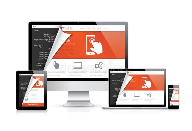 Promoteurs modernes d'ordinateur de web design codant le vecteur d'espace de travail illustration libre de droits