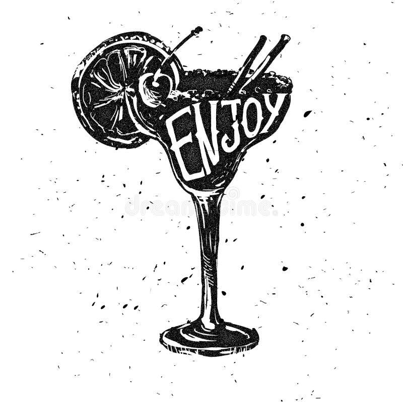 Promotie retro afficheontwerp voor één van de populairste cocktails Pina Colada royalty-vrije illustratie