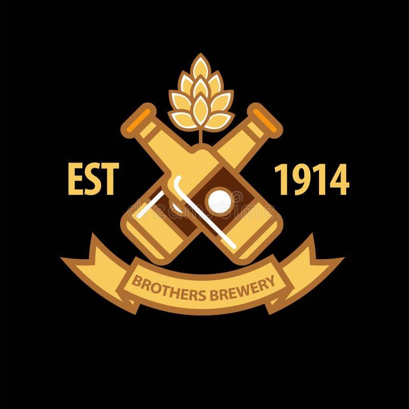 Promotielogotype van de broersbrouwerij met gouden bierflessen stock illustratie