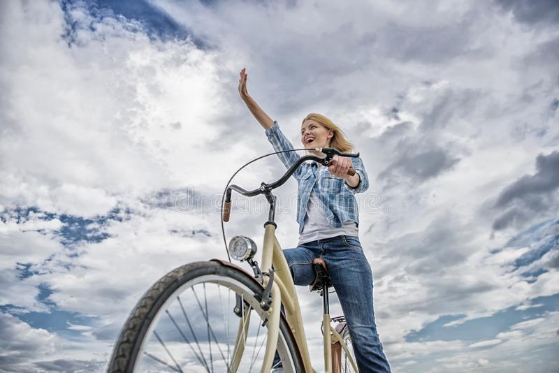 Promoting cycling infrastructure. Girl happy face likes ride bike. Bicycle transportation eco friendly, cheap and fast. Way. Cycling culture and infrastructure royalty free stock images