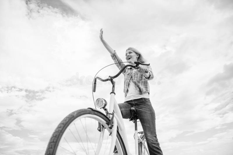 Promoting cycling infrastructure. Girl happy face likes ride bike. Bicycle transportation eco friendly, cheap and fast. Way. Cycling culture and infrastructure royalty free stock photo