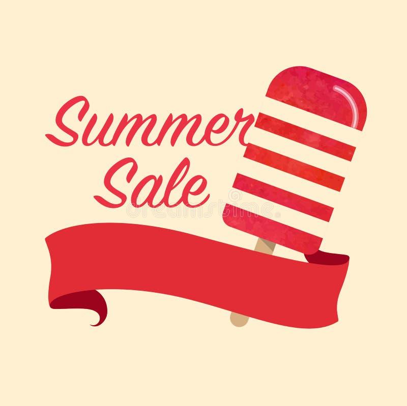 Promotio coloré de vente d'été de glace à l'eau de vecteur de texture d'aquarelle illustration stock