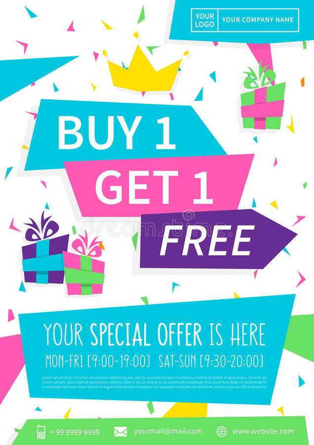 Promotion banner buy get 1 free vector illustration stock for Buy cheap posters online