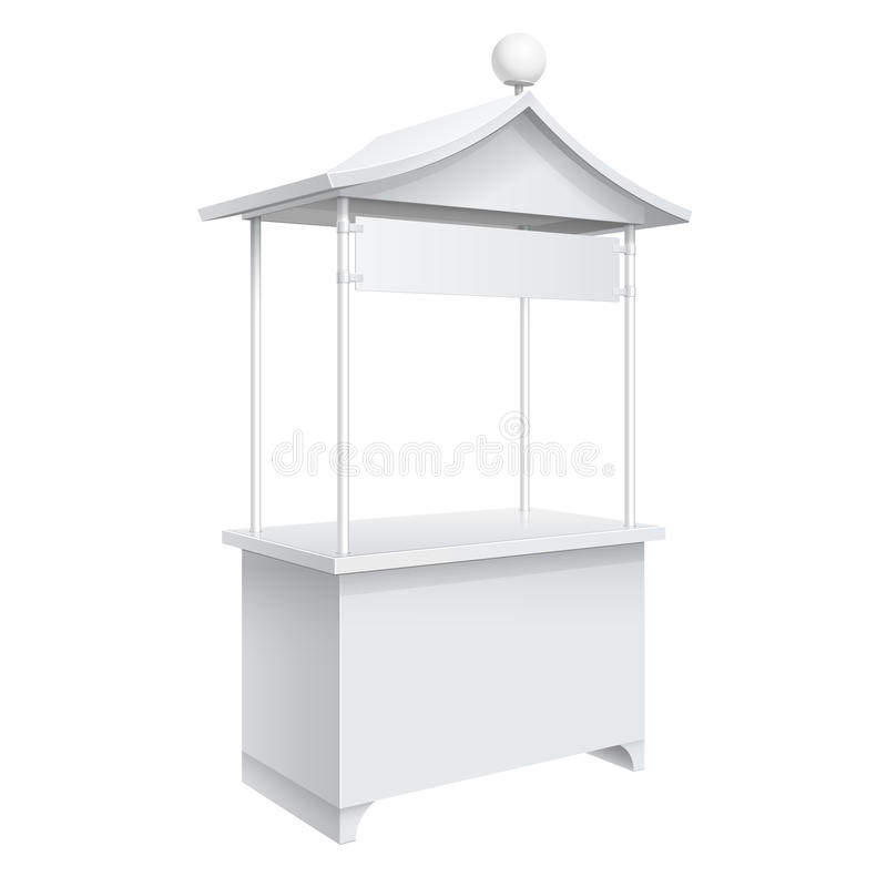 Promotion counter, Retail Trade Stand. Promotion counter on wheels and a triangular Roof in oriental style, Retail Trade Stand Isolated on the white background royalty free illustration