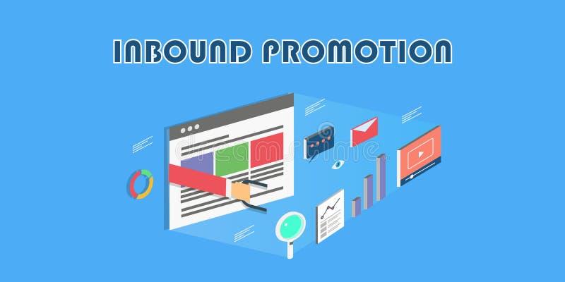 Promotion d'arrivée de vente - le style 3d - remettez tenir l'aimant, vidéo, graphique, concept de vente d'email Bannière plate d illustration libre de droits