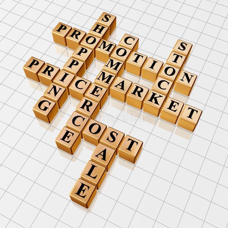 promotion d'or de 3 mots croisé illustration de vecteur