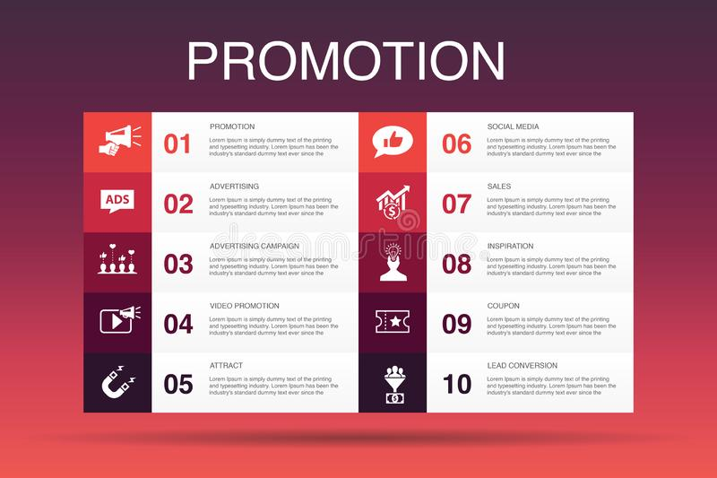 Promotion Infographic 10 option template. Advertising, sales, lead conversion, attract simple icons vector illustration