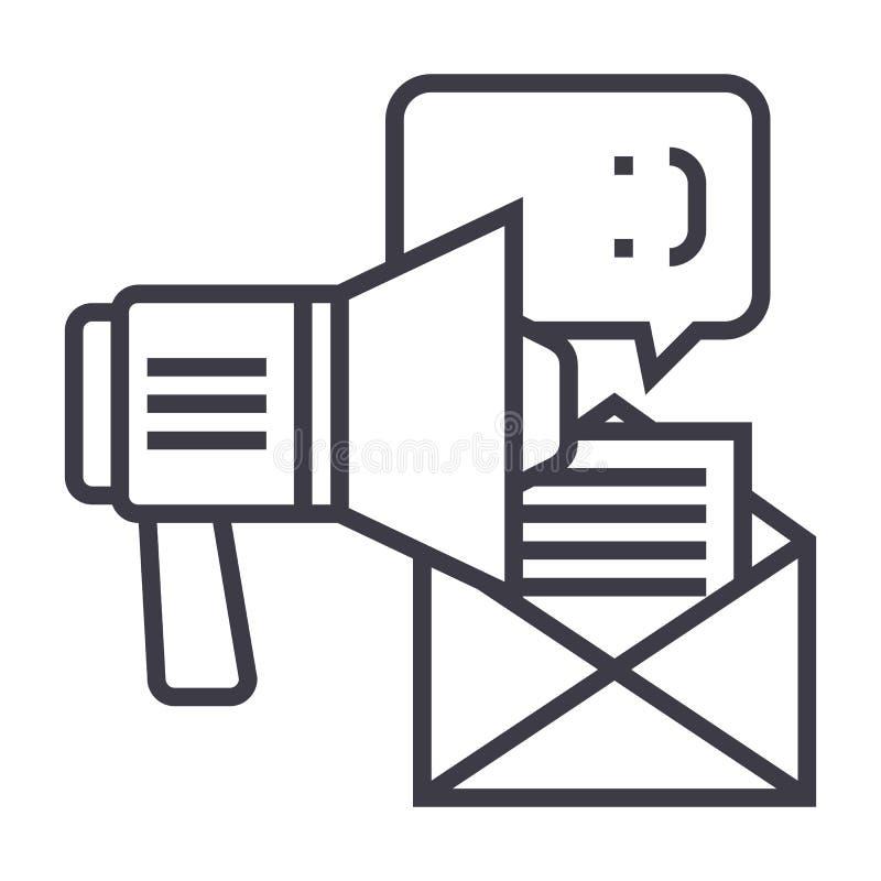 Promotion, la publicité, ligne icône, signe, illustration de vecteur de haut-parleur sur le fond, courses editable illustration libre de droits
