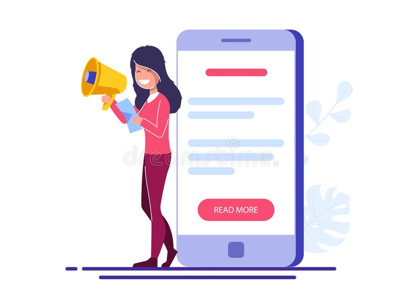Promotion ou concept de la publicité La jeune fille avec un haut-parleur et une feuille se tient près d'un grand téléphone avec u illustration libre de droits