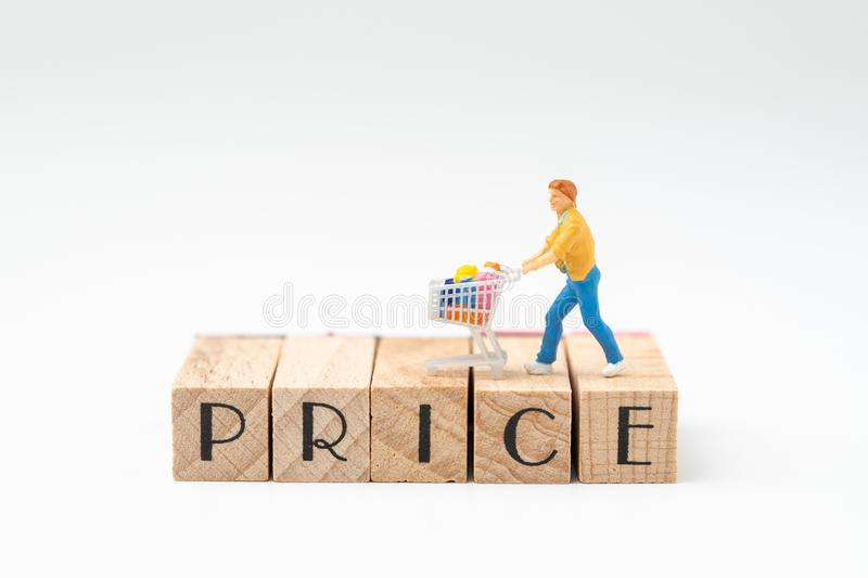 Promotion and pricing for marketing commerce concept, miniature. Figurine trolly shopping cart with full grocery on wooden stamp building the word PRICE on stock photos