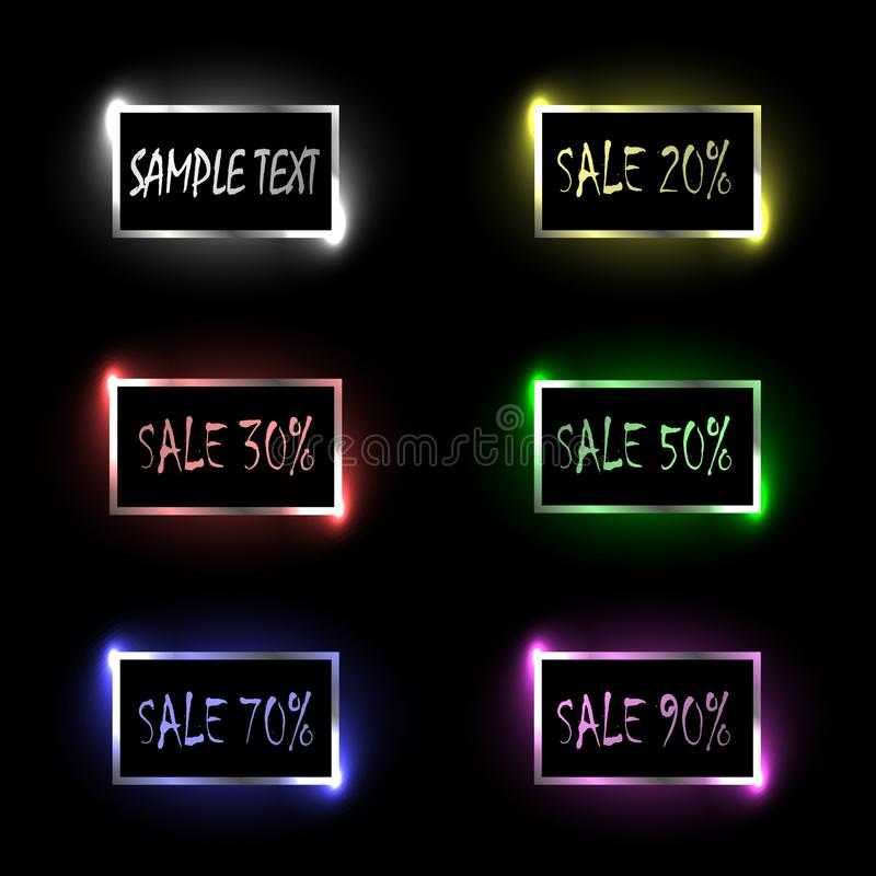Promotion, sale, discount. Advertising rectangular colorful banners or buttons for a site with glitter and glare. Vector image vector illustration