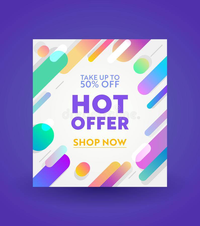Promotion and Shopping Template for Hot Offer and Sale Promotion, Flyer Design, Social Media Cover, Placard, Presentation Digital. Or Printable Promo vector illustration