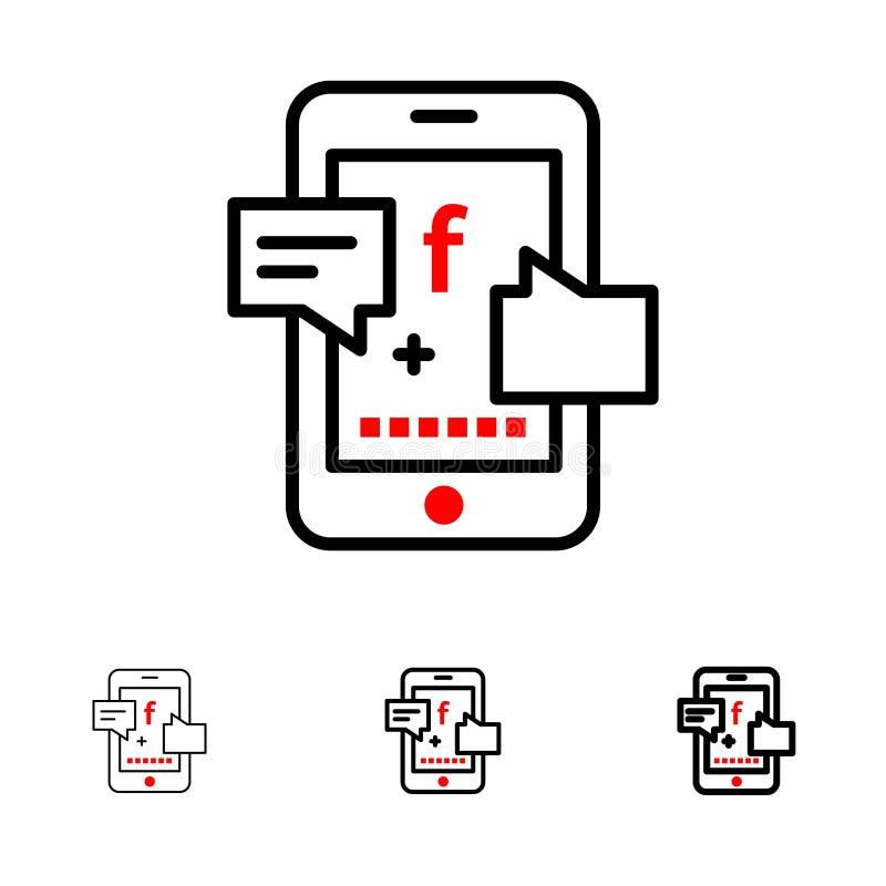 Promotion, Social, Social Promotion, Digital Bold and thin black line icon set vector illustration