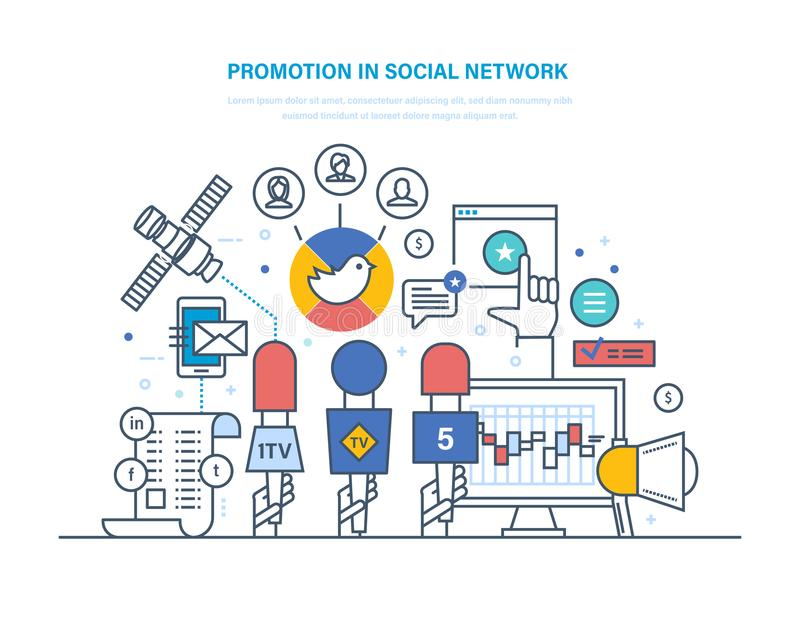 Promotion in social network. Digital marketing, advertising, market research. stock illustration