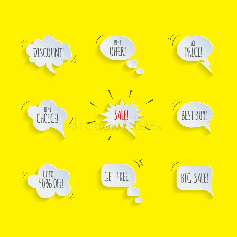 Promotion speech bubble set. Vector speech bubbles with Sale, Discount, Best Offer etc words isolated on yellow comic stock illustration