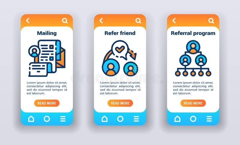 Promotion strategy on mobile app onboarding screens. Flat icons, mailing, refer friend, referral program. Banners for website and mobile kit development. UI UX vector illustration